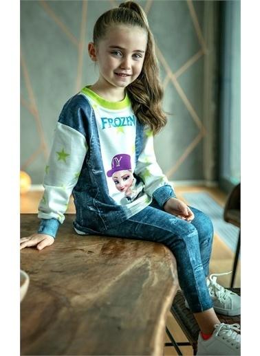 Riccotarz Kız Çocuk Yıldızlı Karlar Kraliçesi Taytlı Takım Renkli